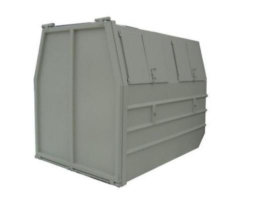 Pojemnik z klapą i pokrywami otwieranymi na bok